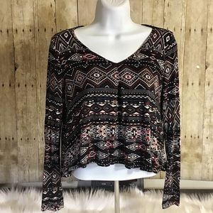 Irenes Story Long Sleeve Aztec Cropped Top